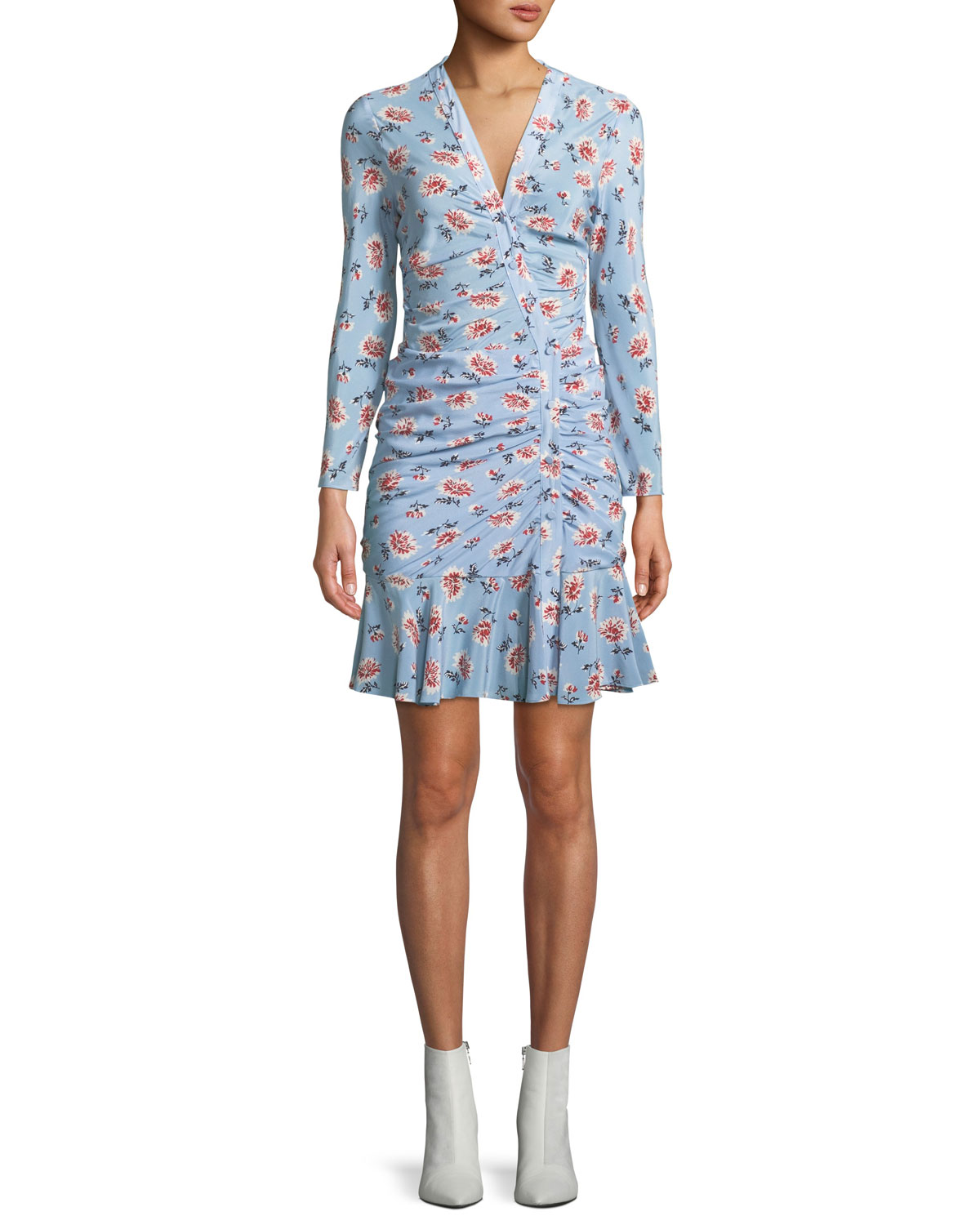 Rowe Bracelet-Sleeve Ruched Asymmetric-Placket Floral-Print Silk Dress