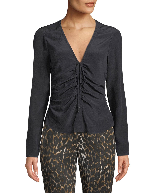 Maisle V-Neck Ruched-Front Long-Sleeve Silk Blouse