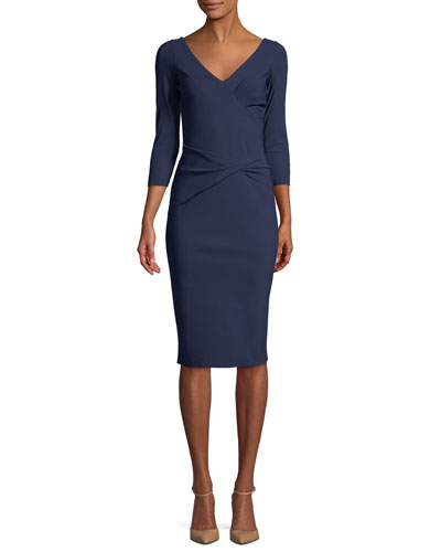 Naktis Twist-Waist 3/4-Sleeve Cocktail Dress