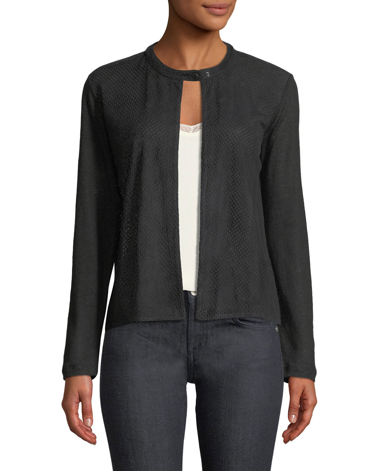 PERFORATED SUEDE & LINEN COMBO CARDIGAN from Neiman Marcus