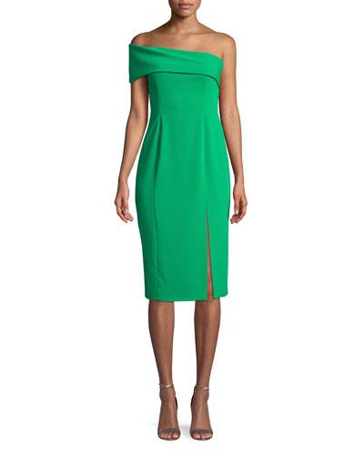 Surrey One-Shoulder Crepe Dress