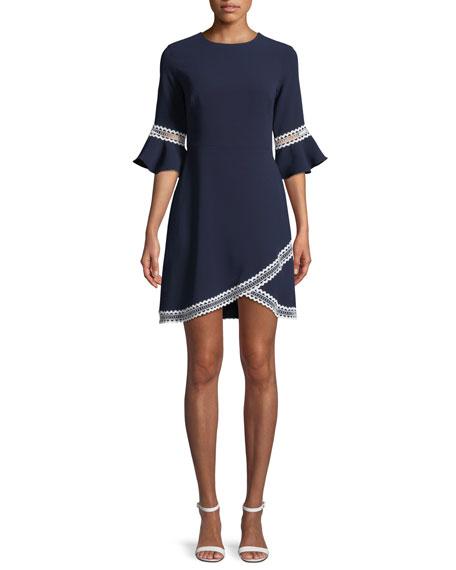 Shoshanna Val Tulip-Sleeve Dress w/ Contrast Trim