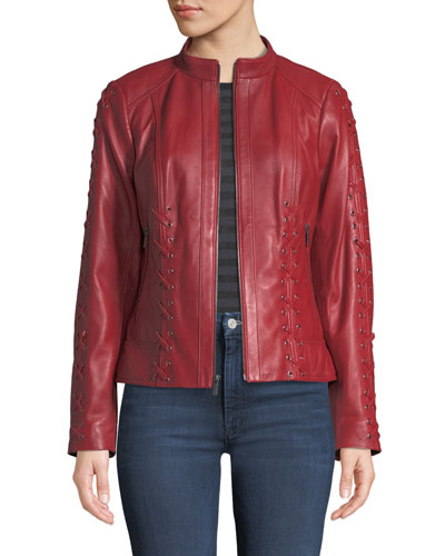 399acf163717 Red Leather Zip Jacket | Neiman Marcus