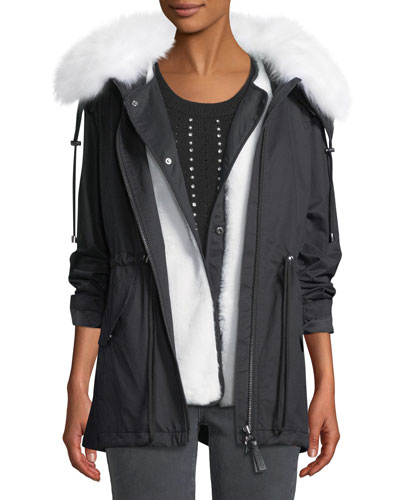 25bfe1d3f1233 Quick Look. Derek Lam 10 Crosby · Oversized Parka Coat w  Fur Trim