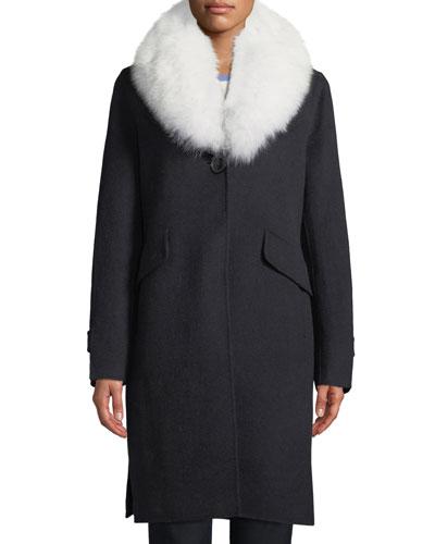 Wool-Blend Midi Coat w/ Fur Shawl Collar