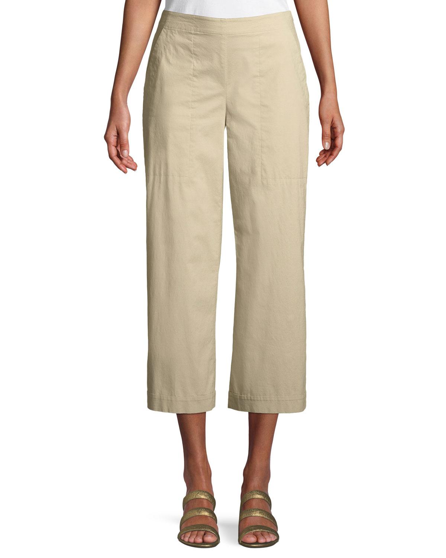 Stretch Poplin Wide-Leg Cropped Trousers