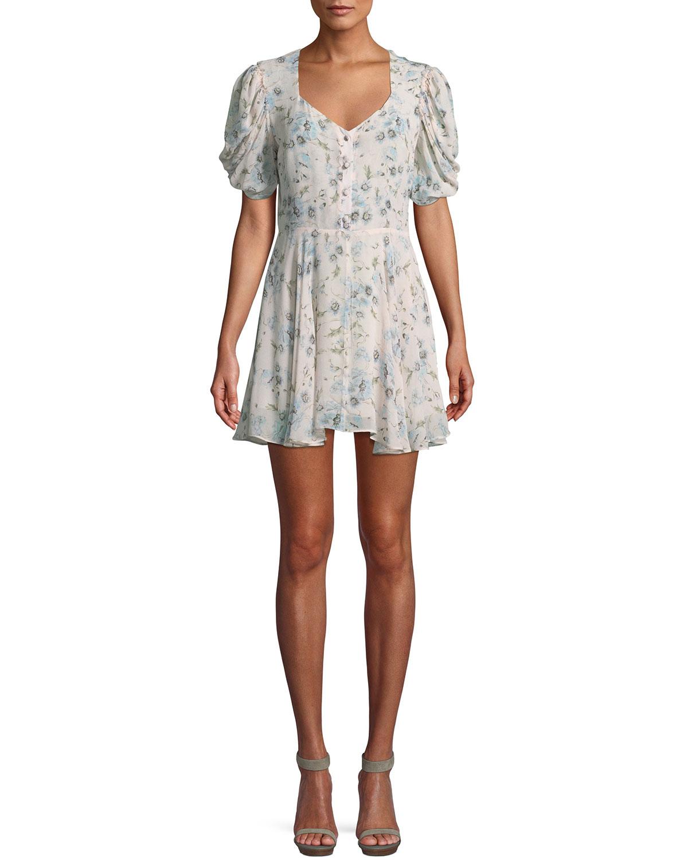 Cora Puff-Sleeve Floral Silk Mini Dress