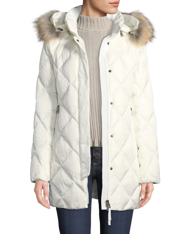 Irina Diamond-Quilted Coat w/ Removable Hood & Fur Trim