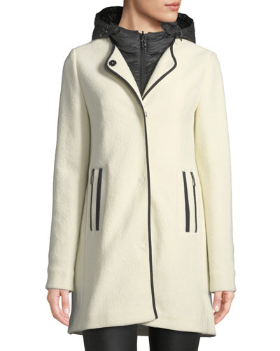 Susana Two-Piece Coat w/ Hood & Wool Overlay