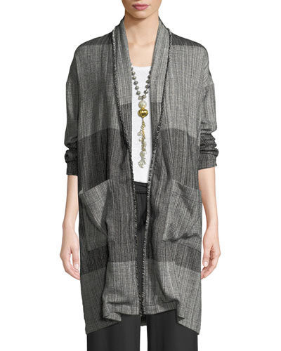 Organic Cotton Striped Long Cardigan Jacket