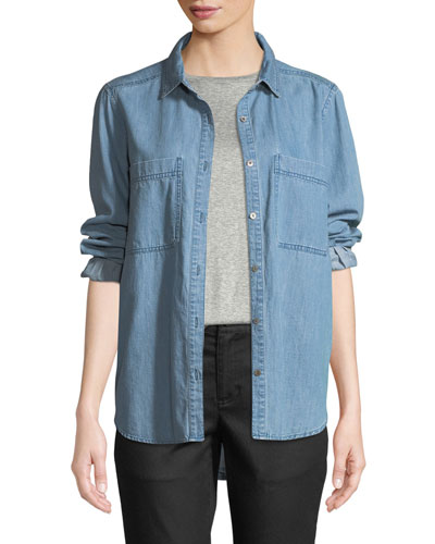 Petite Organic Cotton Denim Pocket Shirt