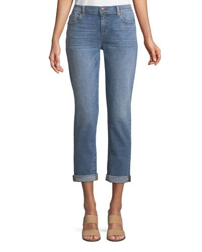 Abraded Denim Boyfriend Jeans, Plus Size