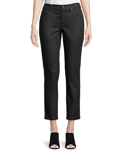 Petite Coated Skinny Ankle Jeans, Black