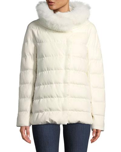 Fur-Collar Down-Fill Midi Coat
