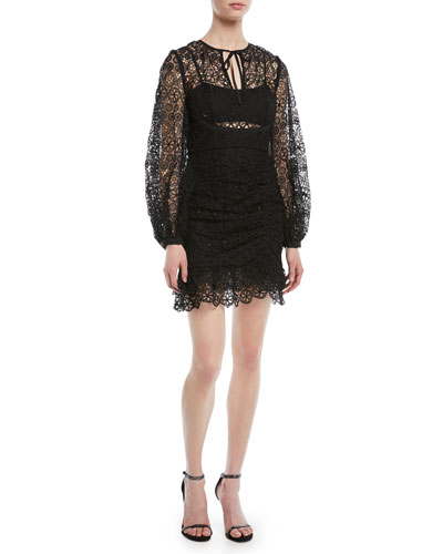 Long-Sleeve Circle Floral Lace Mini Cocktail Dress