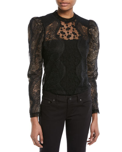 Scalloped Floral Lace Puff-Sleeve Top