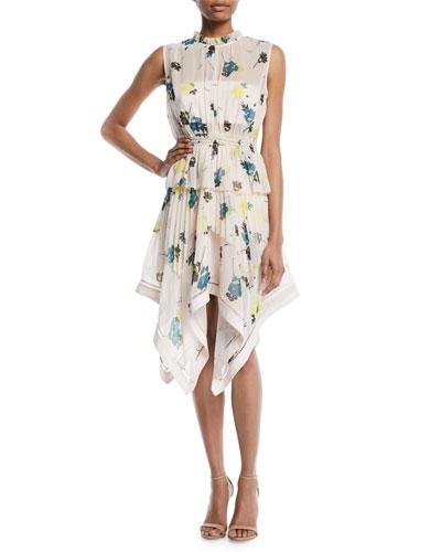 Asymmetric Graphic Floral-Print Dress