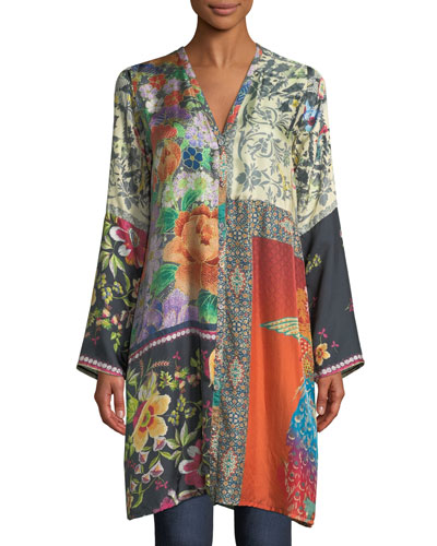 Petite Peadover Long Button-Front Silk Cardigan