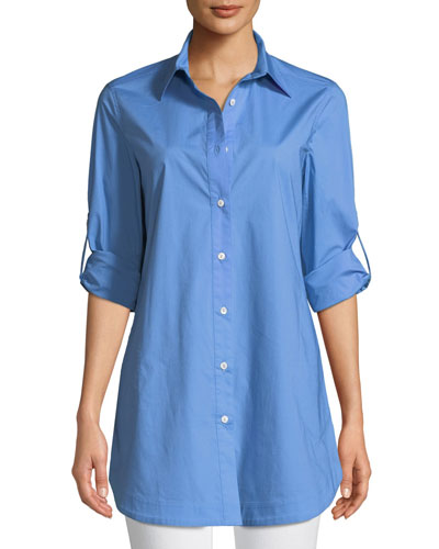 Petite Stretch-Cotton Shirt with Painter's Pockets