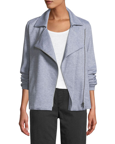 Herringbone Knit Cotton Zip Moto Jacket, Plus Size