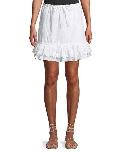 Jenna Eyelet Flounce Short Skirt