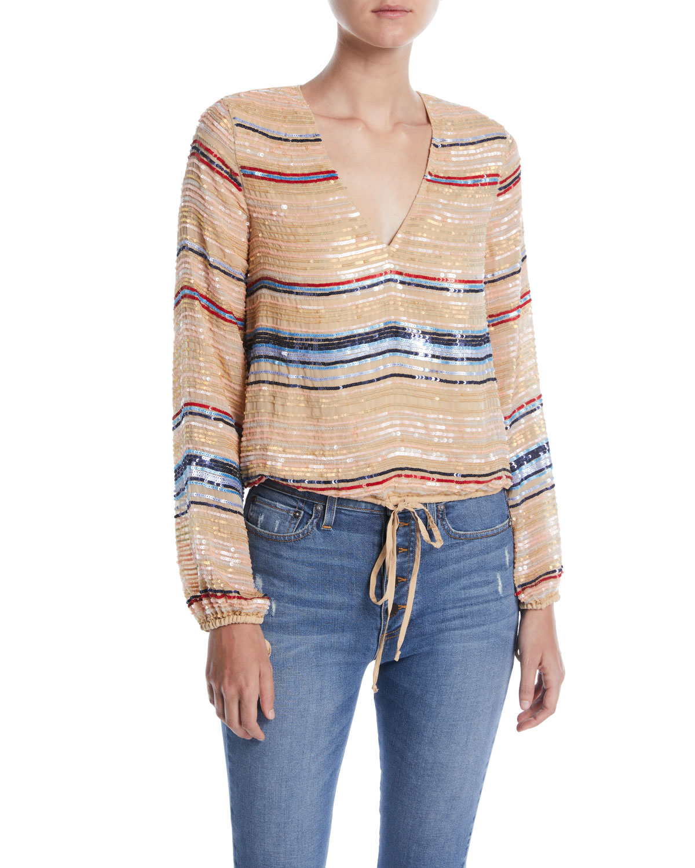 Bree Striped Sequin V-Neck Blouse