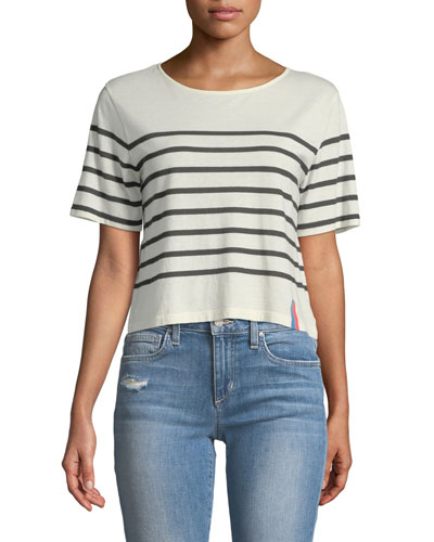 The Crop Striped Crewneck Tee