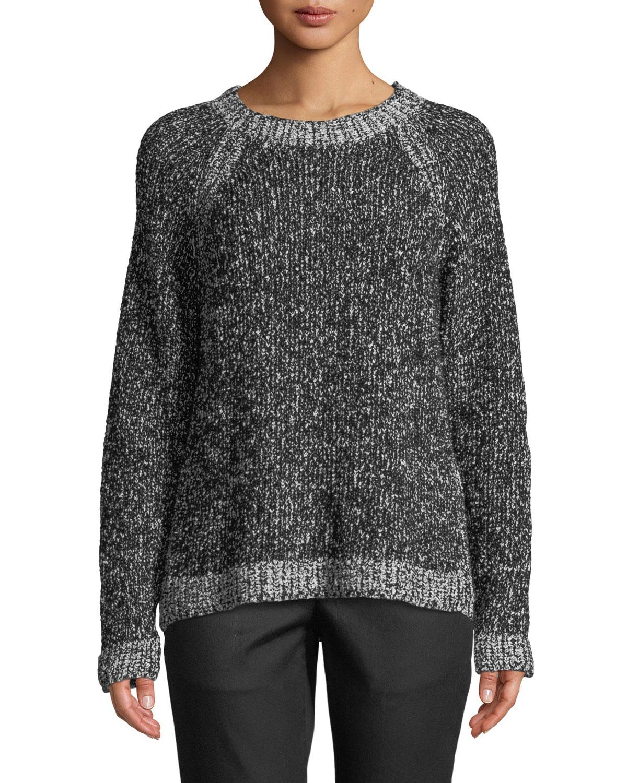 Organic Cotton Boucle Short Box Sweater, Black/Soft White