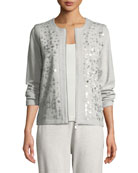 Joan Vass Sequined Zip-Front Knit Jacket