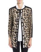 Misook Petite Animal-Print Long Jacket