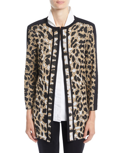 Petite Animal-Print Long Jacket