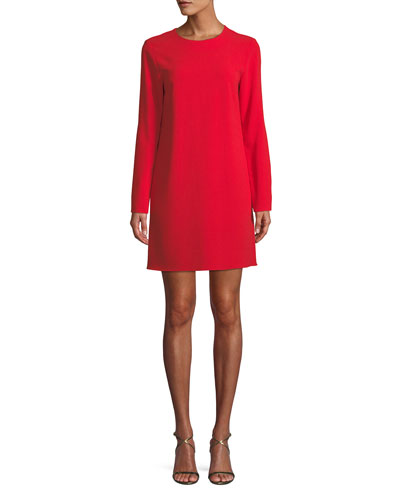Long-Sleeve Crepe Crewneck Mini Cocktail Dress
