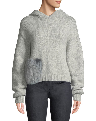 Alpaca Fur-Pocket Hooded Pullover Sweater