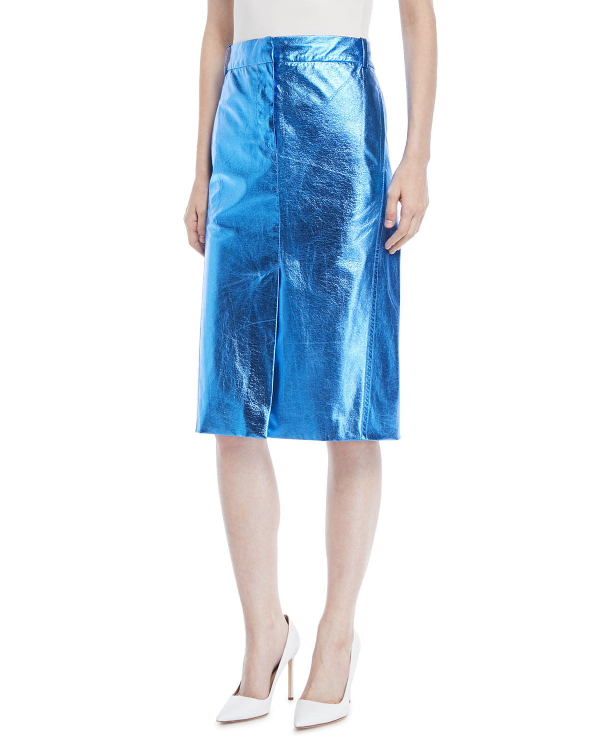Metallic Faux-Leather A-Line Midi Skirt