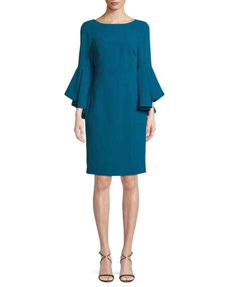 Badgley Mischka Collection Bateau-Neck Dress w/ Trumpet Sleeves