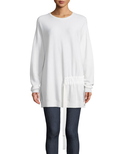 Crewneck Long-Sleeve Shirred-Side Wool Pullover Tunic Sweater