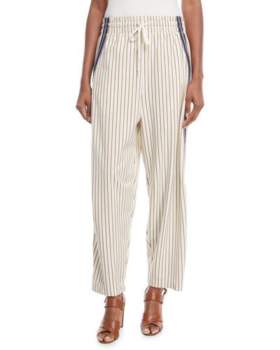 Pinstripe Wide-Leg Drawstring Pants