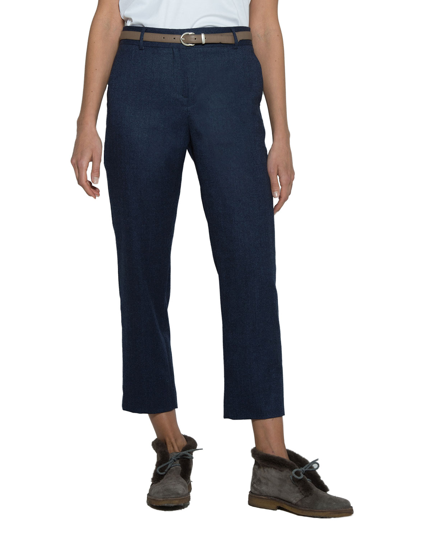 Textured Wool Slim-Leg Cropped Pants