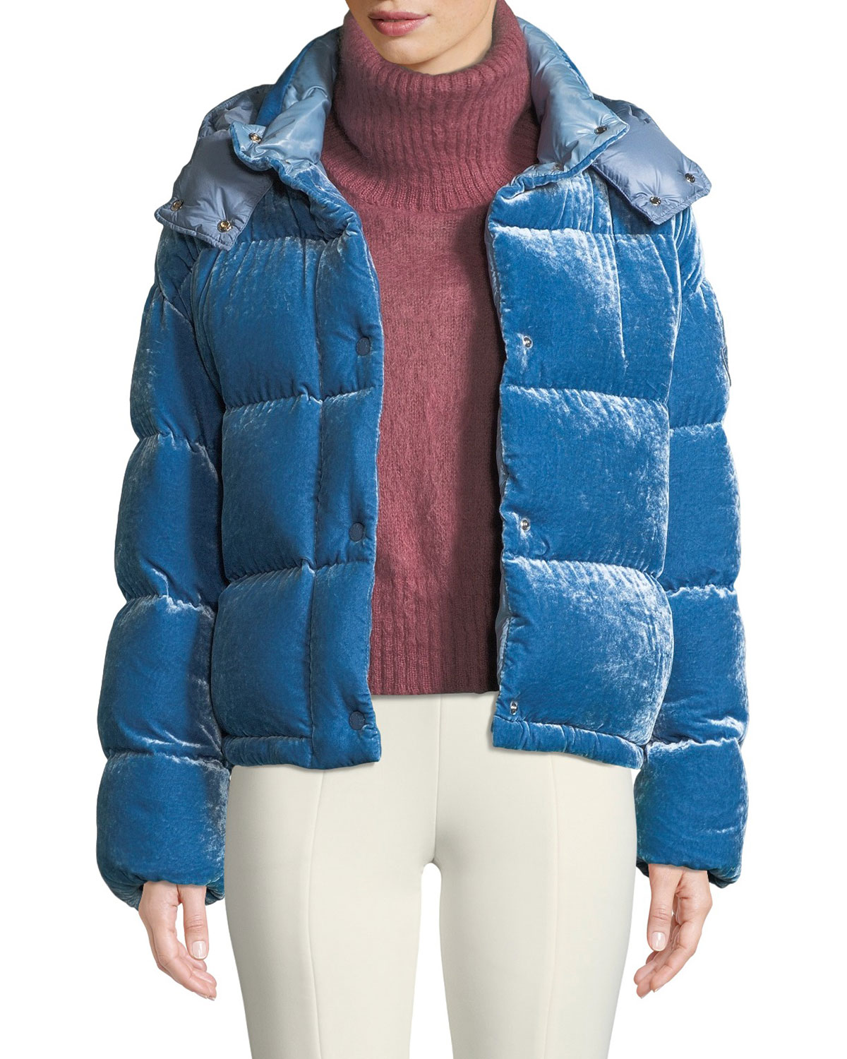 MONCLER CAILLE VELVET PUFFER COAT W/ DETACHABLE HOOD, MEDIUM BLUE