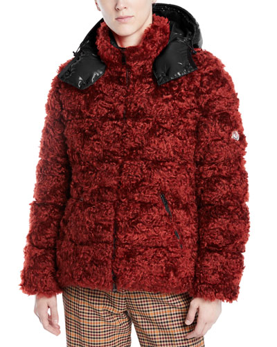 Badyp Mohair-Blend Puffer Jacket w/ Contrast Hood