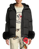 Moncler Effraie Hooded Fur-Cuff Jacket and Matching Items