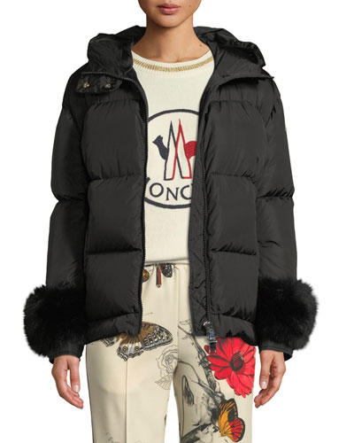 Effraie Hooded Fur-Cuff Jacket