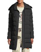 Moncler Lionette Long Puffer Coat w/ Fur Trim