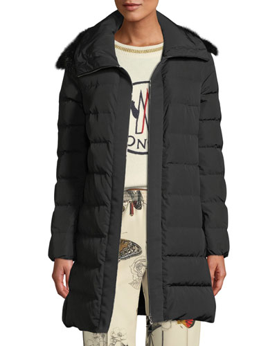 Lionette Long Puffer Coat w/ Fur Trim