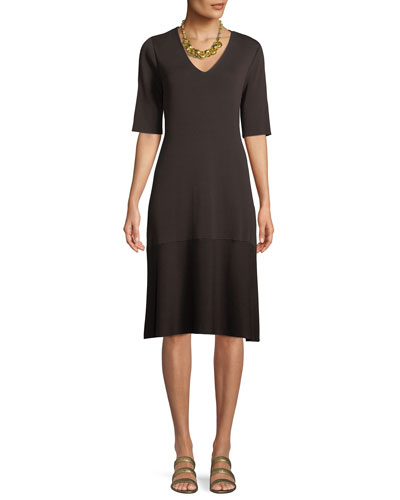Plus Size V-Neck Short-Sleeve Tencel® A-line Dress