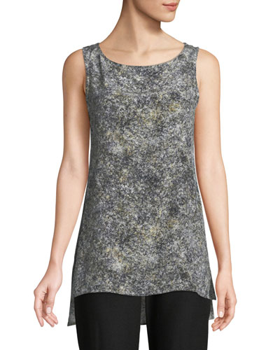 Willow-Print Bateau-Neck Shell Top