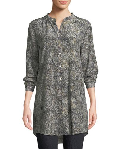 5e4cd075a4b20 Quick Look. Eileen Fisher · Plus Size Willow-Print Mandarin-Collar Long Silk  Shirt
