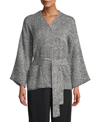 Bracelet-Sleeve Cotton Kimono Short Jacket, Plus Size
