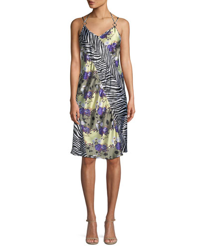 Sleeveless Floral Zebra Silk Dress