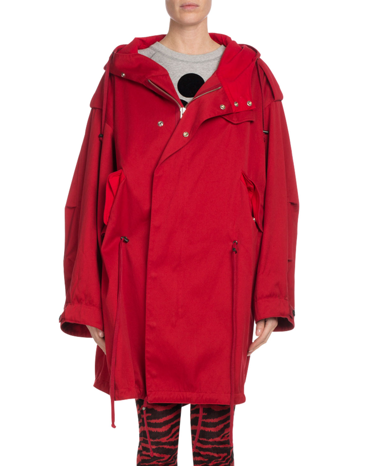 Duffy Oversized Hooded Cotton-Canvas Coat in Red